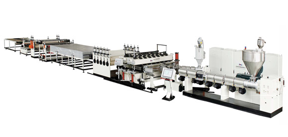 PC, PP, PE Plastic Hollow Cross Section Plate Extrusion Line