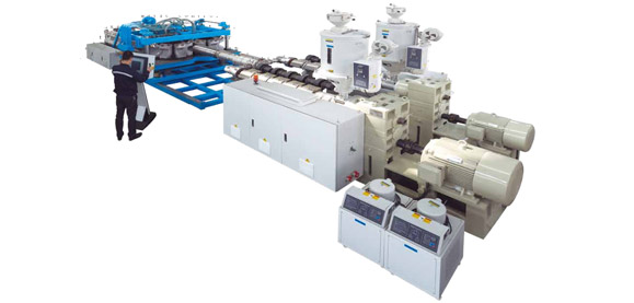 HDPE/PP/PVC Horizontal Type Double Wall Corrugated Pipe Extrusion Line Featured Image